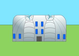 Boceto de edificio con aerogeneradores.